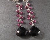 Garnet Dangle Earrings, Faceted Black Onyx Earrings, Rhodolite Garnet Earrings, Holiday Jewelry, Under 50