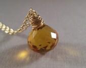 Gold Quartz Necklace, Faceted Gemstone Briolette Necklace, Honey Gold Necklace, Minimal Jewelry, Under 50