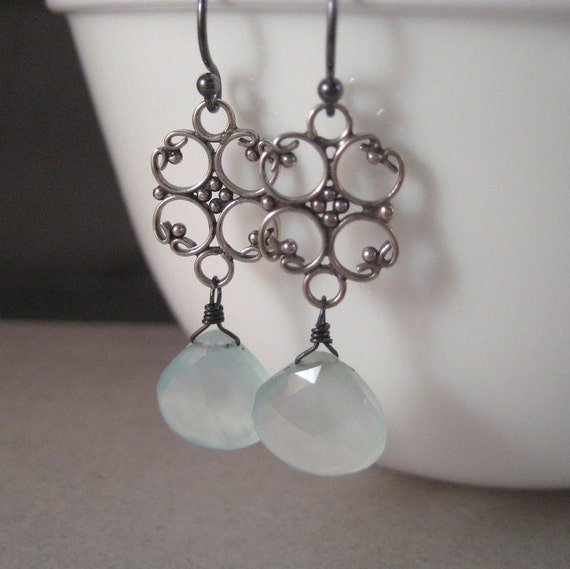 Gemstone Earrings, Faceted Chalcedony Briolette Sterling Silver Filigree Earrings