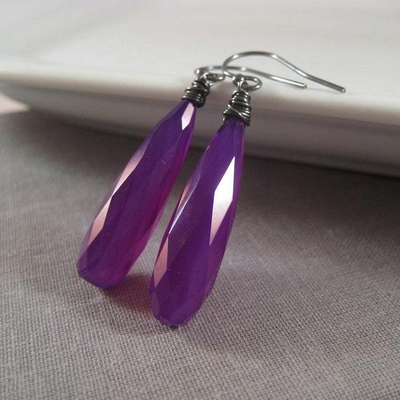 Chalcedony Earrings, Faceted Purple Chalcedony Earrings Oxidized Sterling Silver
