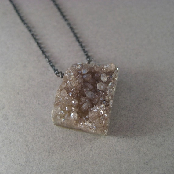 Drusy Necklace, Metallic Druzy Necklace, Oxidized Chain Necklace, Sterling Chain Necklace