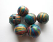 Reserved for Judy Corlett Rainbow Brights Handmade Polymer Clay  Beads Jewelry Supplies