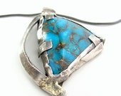 Genuine turquoise necklace sterling silver 14K gold metalwork pendant Art jewelry December birthstone