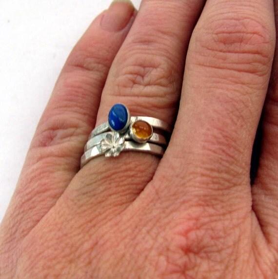 Lapis lazuli ring, citrine ring, stacking ring set, hammered sterling silver flower,  size 6