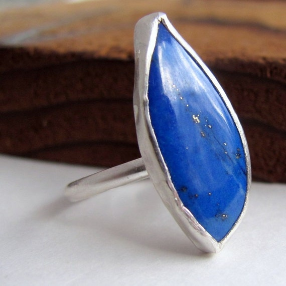 Handmade sterling silver freeform cobalt blue Lapis lazuli ring size 7 and a half
