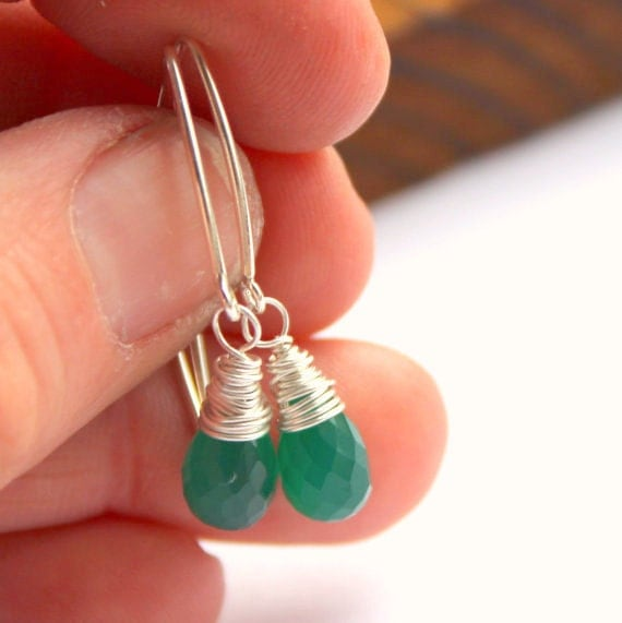 Pine Green gemstone earrings, onyx earrings, sterling silver drop earrings, dangle earrings, wire wrapped