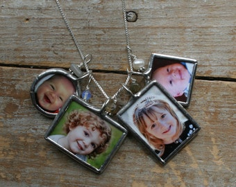 Four Soldered Glass Photo Charms Necklace-Custom Photo Jewelry, Memorial Photo Necklace, Grandma Gift, Picture Necklace