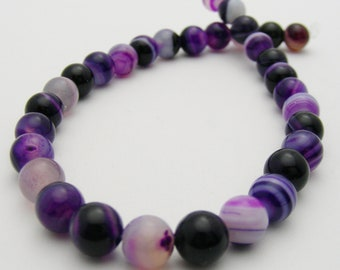 Purple Striped Agate 6mm Round-R