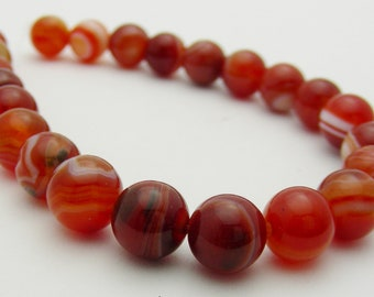 Red Orange Striped Agate 8mm Round-R
