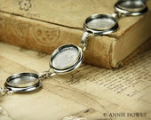 Silver Plated Bracelet with Circle Bezels. Vintage Silver Plated Bracelet. 7.75 Inches.