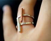 Linear Bar ring SET OF 2 in Sterling Silver and Copper, silver bar ring, sterling silver stack rings, mixed metal rings, minimalist rings