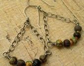 Trade Beads Chain Swing Dangle Earrings