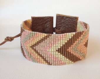 FREE SHIPPING Chevron loom beaded cuff, in chocolate, peach and pink