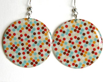 Multicolor Rainbow Dots Large Resin Earrings with Sterling Earwires