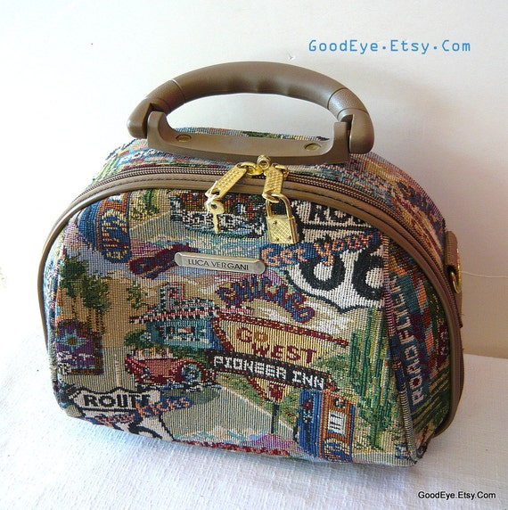 Vintage Tapestry Doctors Bag LUGGAGE Carry on Tote Purse CITY Traincase Cosmetic