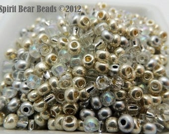 Silver Strike size 6 Czech seed bead Mix 50 grams