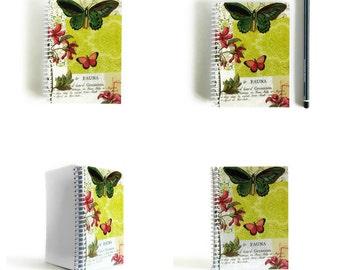 Green Butterfly Spiral Blank Pocket Notebook, Sketchbook Garden Planner Spiral Bound Writing Journal Diary, A6 Paper Cute Notebooks Under 20