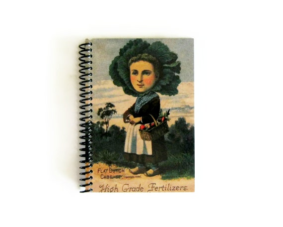 Dutch Girl Spiral Bound Diary Writing Journal, Cute Back to School Pocket A6 Notebook, 4x6 Inches, Antique Seed Packet, Blank Sketchbook