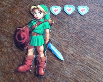 Link and Three Small Hearts Magnets