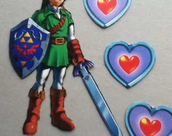 Link and Three Large Hearts Magnets