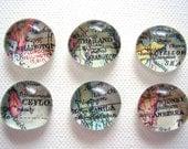 Set von sechs Vintage Welt Karte Glas Pebble Magneten / Sie wählen Sie die Reiseziele / kundenspezifisch konfektioniert