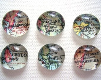 Set of Six Vintage World Map Glass Pebble Magnets / You pick the destinations / made to order