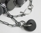 Beach Stone Necklace Sterling Silver Black . In The Black