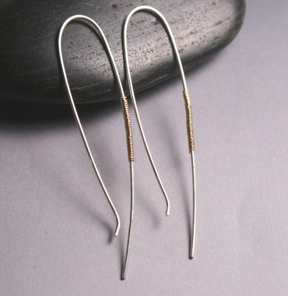Simple jewelry - Silver and Gold Arc Earrings