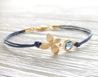 Midnight Bloom Jewelry Bracelet - September Birthday - Sapphire - 16K Gold Plated Bracelet