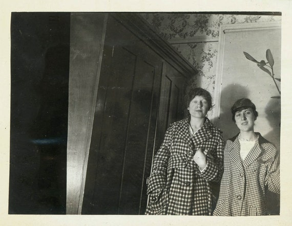 vintage photo 1912 Young Ladies Mystery behind the wardrobe