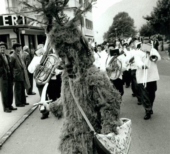 vintage photo Unusual Costume Man as Ent Tree Monster RPPC 1959