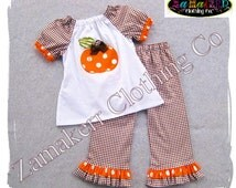 Girl Pumpkin Outfit- Thanksgiving Turkey Custom Boutique Baby Girl Turkey Fall Pant Set 3 6 9 12 18 24 month size 2T 2 3T 3 4T 4 5T 5 6 7 8
