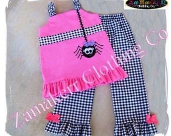 Custom Boutique Clothing Girl Halloween Pant Outfit Set Fall SPIDER Pink Black Gift Pageant  3 6 9 12 18 24 month size 2T 3T 4T 5T 6 7 8