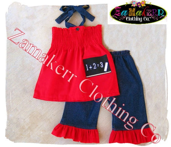 Custom Boutique Clothing Back To School Red Smocked Top Denim Ruffle Pant Outfit Set 3 6 9 12 18 24 month size 2T 2 3T 3 4T 4 5T 5 6 7 8