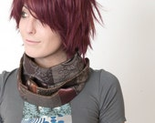 Brown Skinny Scarf -  Infinity scarf - Patched Brown - Extra Long