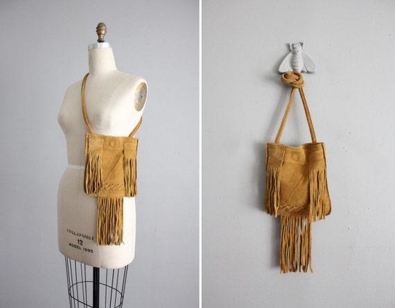 SALE - 1960s vintage suede fringe shoulder bag