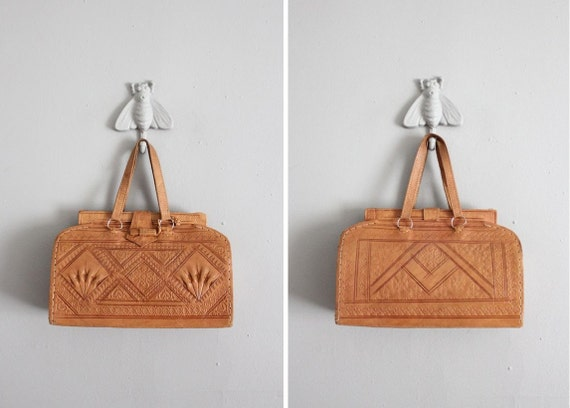 1950s vintage tooled mexican leather handbag
