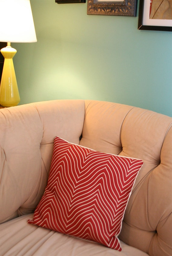 """NEW SALE Red Chevron Pillow Cover 18X18"""""""