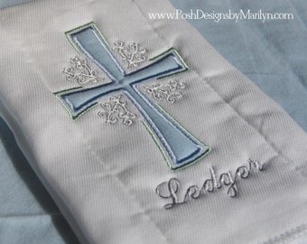 Personalized Cross Burp Cloth