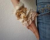 Iliamna Remota  ... Freeform Crochet Cuff - Flowers -  Cream Ivory White Gold Beige - Beaded Beadwork