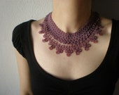 Delicate - Lilac Pink ... Beaded Crochet Necklace - Beadwork