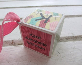 Girls - The Stockings Were Hung - Personalized Baby Block Ornament