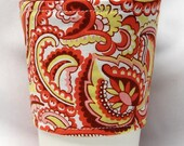 Coffee Cozy/ Cup Sleeve Eco Friendly Slip-on: Orange and White Paisley