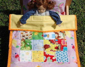 Doll Quilt Pillow and Pillowcase Set Fruit on Lavender - Ready to Ship