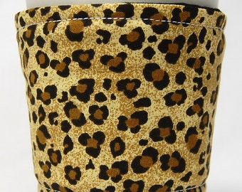 Coffee Cozy/Cup Sleeve Eco Friendly Slip-on, Teacher Appreciation, Co-Worker Gift, Bulk Discount: Leopard Print in Black and Gold
