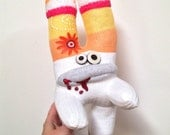 Sam (Grabby Hands) Davis-- A Sock Zombie with Flower and Fuzzy Horns