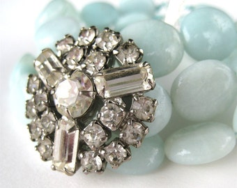 Pale Blue Amazonite Bracelet, Vintage Rhinestone, Light Blue Stone, 3 Strand Bracelet with Bling, Silver Slide Clasp, Handmade, Varya