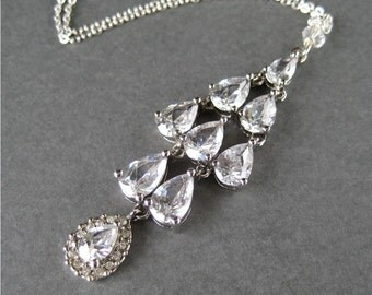 Rhinestone Pendant Necklace, Silver Chain Necklace, Sparkling Rhinestone Teardrops Pendant Bridal Jewelry, Fine Gauge Chain, Handmade, Glitz