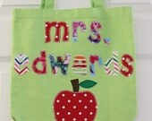Teacher Gift - Personalized Tote Bag for Book or Folders - Great Christmas Gift, Teacher Appreciation Gift