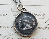Hourglass Wax Seal Necklace - Pay Attention to Time - French motto wax seal - live life, seize the day - wax seal jewelry in fine silver